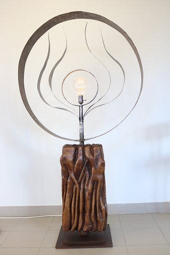 Lampe bois et métal